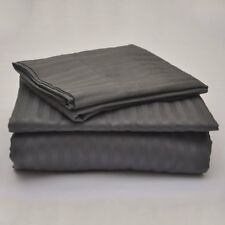 "Egyptian Cotton 800 TC Dark Grey Stripe Sheet Set/Duvet/Fitted/Pillow 15"" Drop"
