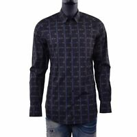 DOLCE & GABBANA GOLD Floral Printed Cotton Shirt Checked Black Flowers 06098