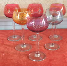 6 verres a pied couleur irise vin iridescent colored glass wine