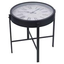 Black Metal Side End Table Nightstand Furniture Living Room Bedroom with Clock