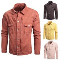 Men Autumn Winter Overcoat Long Sleeve Turn-down Collar Cool Denim Jacket Coat L