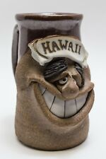 Vintage Hawaii POTTERY Stoneware Smiling Mustache Face Mug Coffee Cup Jug Silly