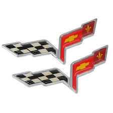 C6 Corvette Badge Chevy Front & Rear Crossed Flags Emblem Decal