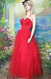 VINTAGE 1950s BALLROOM GOWN Prom DRESS dancing RED taffeta satin TULLE skirt S