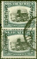South Africa 1951 5s Black & Blue-Green SG049 Good Used Vert Pair