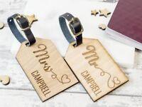 2pcs personnalisé en bois Luggage Tags M et Mme flèches balises