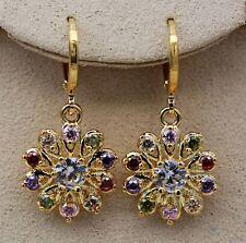 18K Yellow Gold Filled - Mystical Topaz Hollow Windmill Flower Wedding Earrings
