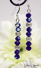 Glass Jewels Silber Ohrringe Ohrhänger Perlen Blau Oktoberfest Filigran #LA035