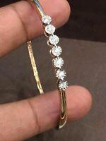 0,27 Cts rotondo brillante taglio Naturale diamanti Braccialetto in bene oro 14K