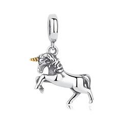 Fine Gold Silver unicorn Pendant Dangle Charm Bead Fit 925 Silver Bracelet
