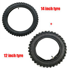 "80/100-12"" REAR 60/100-14 INCH FRONT KNOBBY TYRE/TIRE TUBE DIRT PIT TRAIL BIKE Y"