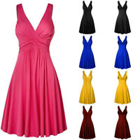 Women's Plus Size Sexy V-neck Retro Sling Pleated Slim Flare Skirt Summer Dress