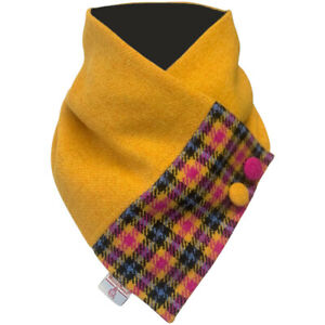 Harris Tweed Mustard Yellow with Pink Blue Black Tartan Check Neck Warmer Scarf