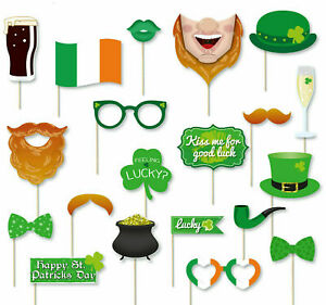 St Patrick's Day Irish Party Photo Booth Props Accessories - 20 Pieces GOOD LUCK