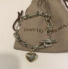 "David Yurman 18k Yellow Gold & Sterling Silver Heart chain bracelet size 7"""