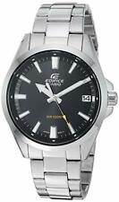 Casio Men's Edifice Quartz Watch with Stainless-Steel Strap, Silver, Black Dial