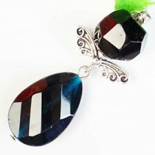Faceted Blue Crystal Tibetan Silver Wing Teardrop Pendant Bead Q59758