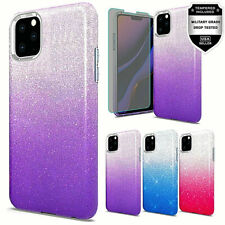 For iPhone 11 Pro Max Glitter Two Tone Dual Layer Case + Tempered Glass