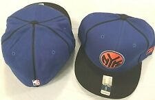 NEW YORK KNICKS FLAT BRIM FITTED SIZE 8 BLUE BLACK NYK LOGO NBA CAP/HAT REEBOK