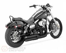 Vance & Hines Exhaust Matte Black Twin Slash 3in Slip-Ons Harley Dyna  46845