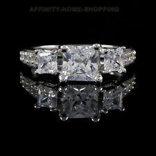 2 Carat Princess Cut Engagement Wedding Ring Three-Stone 9k White Gold Finish