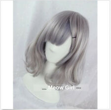 Women Harajuku Lolita Wig Smoke Grey Full Long Cruly Hair Short Cosplay Wig+Cap