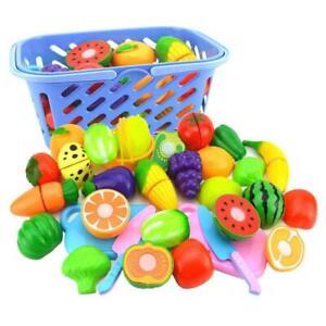 Fruit Vegetable Food Cutting Reusable Role Play Pretend Kitchen Kids Toys 6PCS