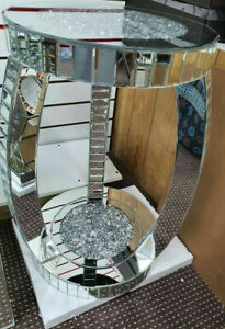 Sparkly Decorative End Side Table Diamond Crush Crystal Silver Mirror Romany