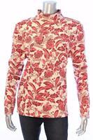 New Women's #2157 Karen Scott Magenta/creme floral Print long slv top Size XL