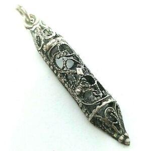 Vintage Filigree Sterling Silver Mezuzah Pendant Signed Jerusalem For blessing