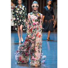 Womens Silk Blend Floral Long Sleeves Sumber Beach Dress Maxi Slim Ball Gown