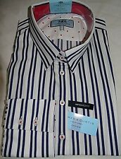 HAWES & CURTIS WHITE/NAVY STRIPE FITTED SINGLE CUFF WORK SHIRT UK 20