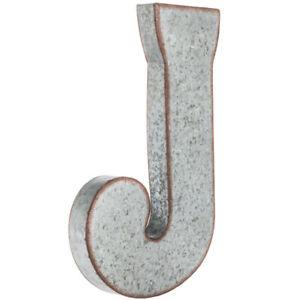 "Large 20"" Silver Galvanized Vintage Metal Letter & Marquee -J-. Monogram."