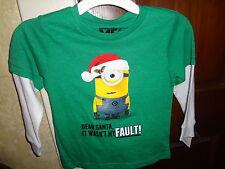 Minion Despicable Me Dear Santa It Wasn't My Fault Mock Layer Shirt Sz 4T Nwt