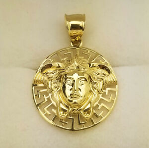 10K Yellow Gold Medusa Pendant Versace Symbol Charm 1.1 inch