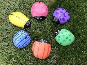 HAND PAINTED PEBBLES STONES SET OF 6 CUTE LADYBIRDS BUGS 🐞PASTEL COLOURS GIFT