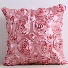 3D Rose Flower Satin Pillow Case Sofa Home Decor Waist Throw Back Cushion Cover
