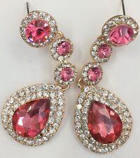 18K Gold Plated Pink Crystal Rhinestone Dangle Fashion Earrings