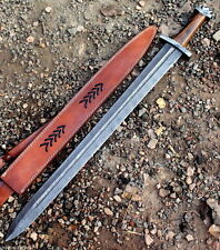 Damascus Steel Knife Handmade -32 Inches Rose Wood Handle Viking Sword