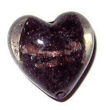 4 Pcs Lampwork Heart Glass Beads - 20mm - Black -  A4026