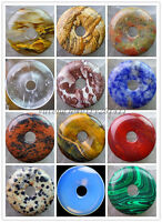 Beautiful 30x5mm Mixed Gemstone Donut Pendant Bead XLZ-114