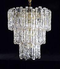 MID CENTURY LUCITE CHANDELIER LIGHT ICE GLASS KALMAR INSPIRED 3 TIER 32 PRISM