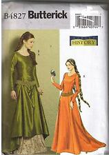 Renaissance Back Lace Up Wedding Dress Train Sewing Pattern Plus 14 16 18 20
