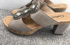 Ladies Gabor Leather Sandals - Heels Size 5 Jewels Boho Summer Grey Cork Wedge