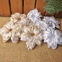 Set 2 & 4 Silver Gold Crackle Clip On Silk Poinsettia Christmas Tree Decorations