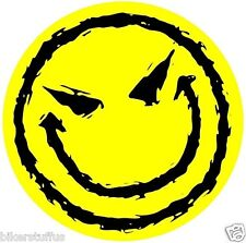 EVIL SMILEY FACE BUMPER STICKER YELLOW LAPTOP STICKER TOOLBOX STICKER WINDOW