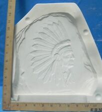 """Indian Chief Stone Carved  10"""" x 10"""" Kinzie No. KR4 Ceramic Mold"""