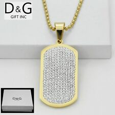 "DG Men's Stainless Steel,Gold 53mm DOG TAGS,CZ Pendant 30"" Ball Necklaces*BOX"