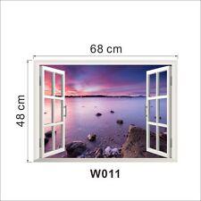 Sea view Window Wall Sticker Decal Finish size 68*48 cm