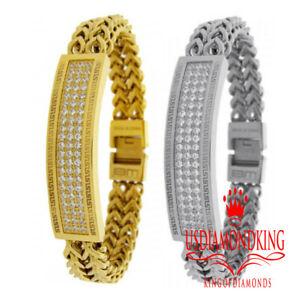 "Mens Solid Stainless Steel Simulate Diamond 14K Gold Finish ID Bracelet 8.5 """